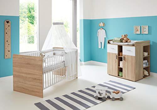 moebel-dich-auf Babyzimmer Komplettset/Kinderzimmer komplett Set Elisa Verschiedene Varianten in Eiche Sonoma/Weiß (Elisa 6 - Sparset)