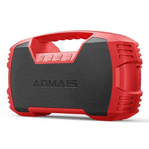 AOMAIS GO Bluetooth Speakers,Waterproof Portable Indoor/Outdoor 40W Wireless Stereo Pairing Booming Bass Speaker,40-Hour Playtime with 10000mAh Power Bank,Durable for Home Party,Camping-Red
