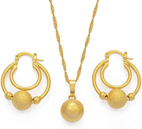 Beads Jewelry Set Ball Pendant Chains And Earrings For Women Girls Dubai Gold Color African Birthday Party Gifts