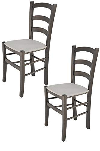 Tommychairs - Set 2 sedie modello Venice per cucina bar e sala da pranzo, robusta struttura in legno di faggio verniciata anilina grigio scuro e seduta rivestita in tessuto colore grigio perla
