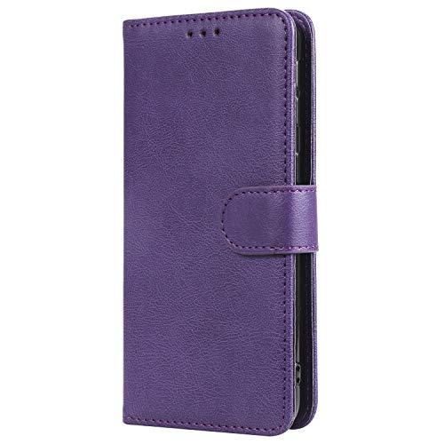 WIWJ Hülle für Samsung Galaxy A40 Tasche Flip Lila - Rein Farbe Ledertasche Wallet Case mit Kartenhalter Abnehmbar Magnet Backcover Detachable Schutzhülle für Samsung Galaxy A40 Handyhülle