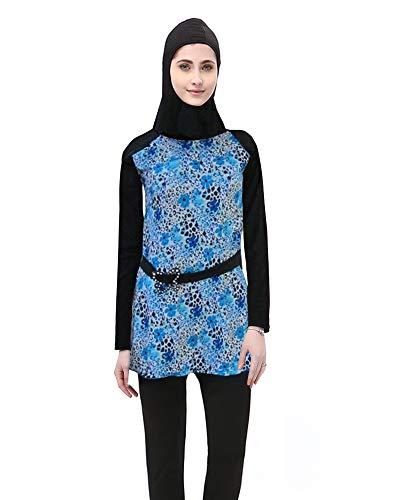 BOZEVON Donne Musulmano 2 Pezzi Costumi Interi Islamiche Costumi da Bagno Hijab Burkini Modesto Swimsuit