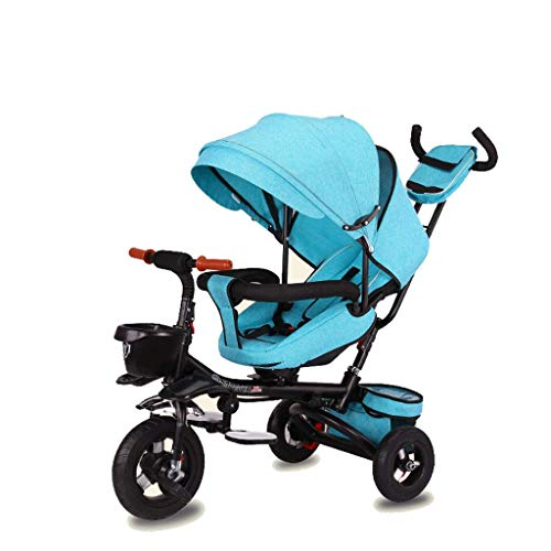 NUBAO Triciclo Evolutivo Toral Trikes Trikes para niños, Plegable 1 año de Edad Asiento Giratorio reclinable niño para niños 3 Ruedas Segura toldo Empuje (Color: Verde)