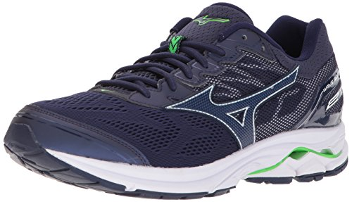 Mizuno Men's Wave Rider 21 Running Shoes, Classic Blue/Black, 7.5 D US