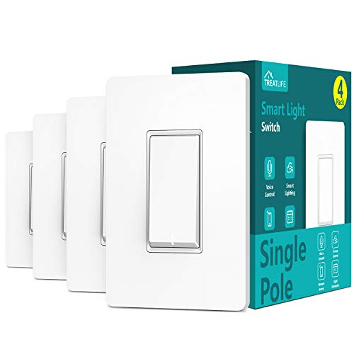 Single Pole Treatlife Smart Light Switch(Neutral Wire Required), 2.4Ghz Wi-Fi Light Switch, Works with Alexa and Google Assistant, Schedule, Remote Control, Single Pole, ETL Listed (4 PACK)