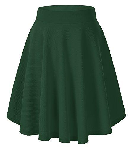 Women's Basic Versatile Stretchy Flared Casual Mini Skater Skirt (Medium, Green-Long)