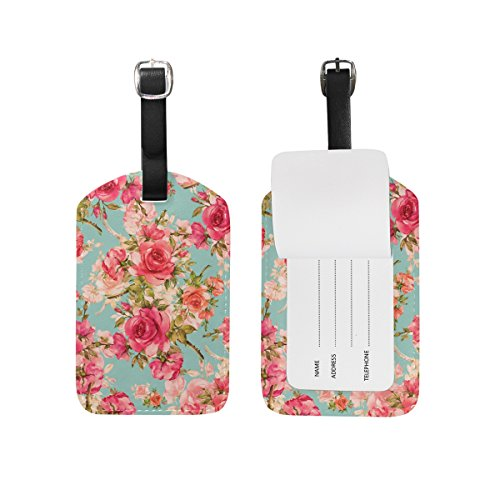 My Daily Beautiful Roses Vintage Floral Luggage Tag PU Leather Bag Tag Travel Suitcases ID Identifier Baggage Label 1 Piece