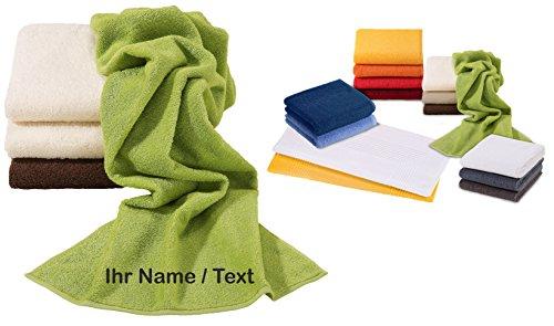 Vossen Gästetuch | Handtuch | Duschtuch | Badetuch | Saunatuch | Bestickt mit Name oder Text Wunschstickerei (Meadowgreen (Farbton: Grün), Gästetuch 30 x 50 cm)