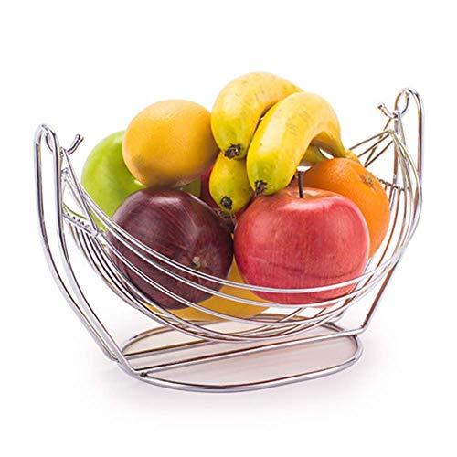 TINGTING-Porte-fruits Corbeilles à Fruits Acier Inoxydable Style européen Berceau Creative Pot de Fruits étagère Salon Bar KTV (Couleur : Silver, Taille : 28 * 17.5)