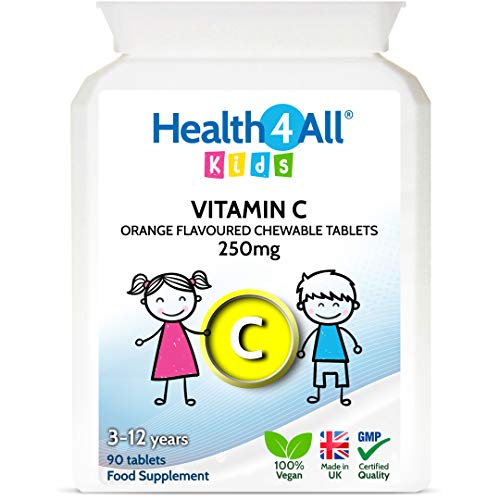 Kids Vitamin C 250mg 90 Tablets (V) Vegan Chewable Vitamin C for Children 3+. Made by Health4All