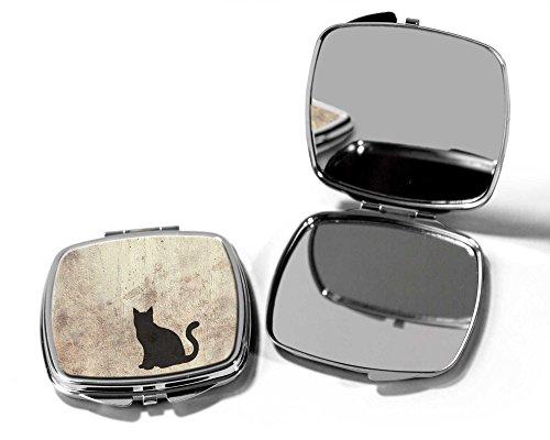 Zwarte kat compacte zak make-up handtas spiegel