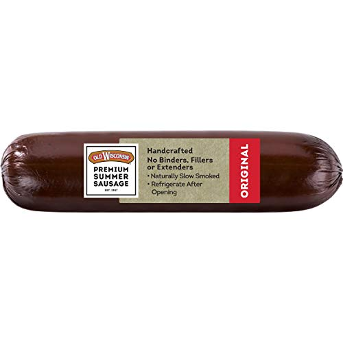 Old Wisconsin Premium Summer Sausage, 100% Natural Meat, Charcuterie, Ready to Eat, High Protein, Low Carb, Keto, Gluten Free, Original Flavor, 16 Ounce