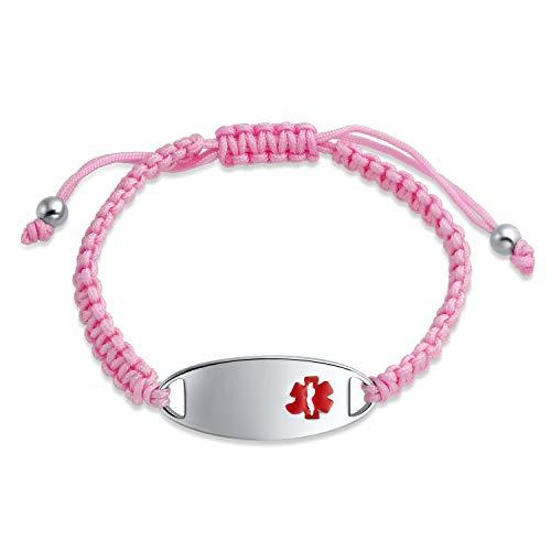 Bling Jewelry Pink Trenzado Cord Medical Identificación Médico Médico Trampable Alerta Médica Pulsera para Mujeres Acero Inoxidable