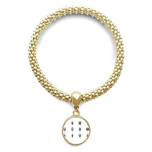 DIYthinker Damen Schaltplan Steckdose Muster Goldene Armband Laufende Anhänger Schmuck-Kette