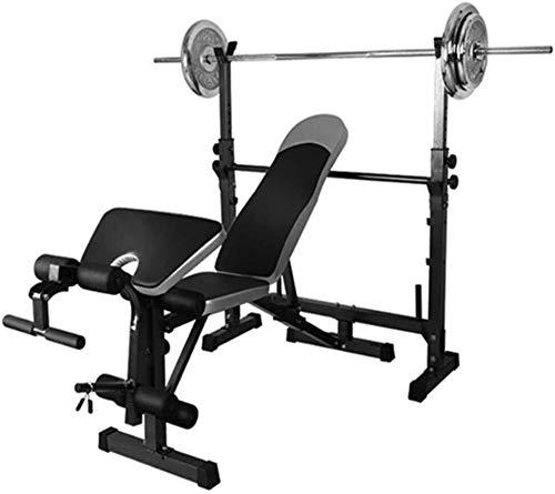 Cnley Banco de pesas plegable para el hogar fengicon Power Cage Bench Press Rack Equipos deportivos Entrenamiento muscular en casa Gimnasio ejercicio plano inclinación ajustable Abdomen brazo delgado