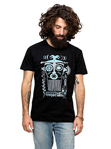 Men's Printed T-Shirt Aztec Story Art Graphic Color Tribal Mask Black Top S