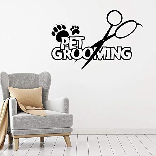 Calcomanía de pared para aseo de mascotas, tijeras de pata de animal de servicio, pegatina de vinilo para ventana, tienda de mascotas, Mural artístico decorativo de pared