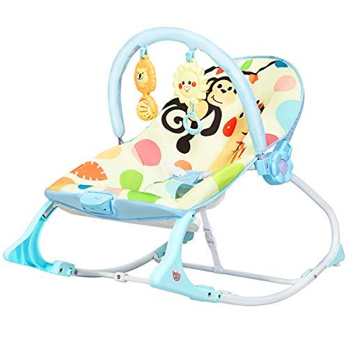 COSTWAY 3 in 1 Babywippe & Babyschaukel & Babyliegestuhl, Baby Schaukelwippe mit Vibrationsmodi, Babyschaukel mit abnehmbarem Spielbogen und Musik bis 18KG belastbar (Blau)