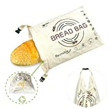 Tribe Glare Bread Bags for Homemade Bread, Organic Cotton Reusable Bread Bag with Fresh-keeping Linen, Large Baggette Boule Bag for Bakery Supplies and Food Storage, Khaki