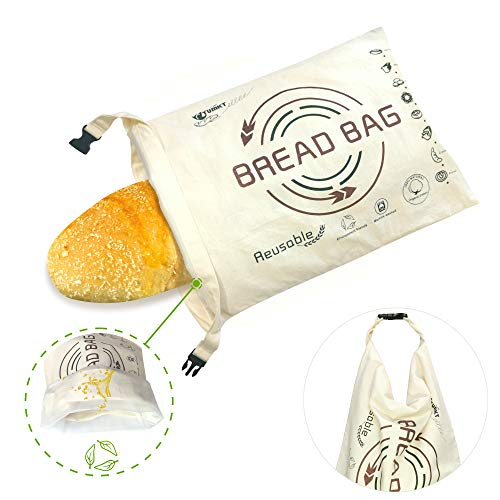 Tribe Glare Bread Bags for Homemade Bread Organic Cotton Reusable Bread Bag with Fresh-keeping Linen Large Baggette Boule Bag for Bakery Supplies and Food Storage Khaki
