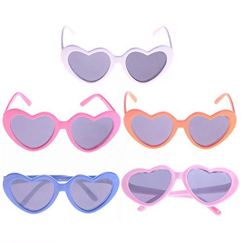 Zoylink 5 STÜCKE Puppe Sonnenbrille Puppe Brille Herzform Puppenzubehör für 18'' Puppe