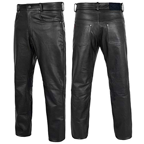 Alpha Cycle Gear Leather Motorcycle Pant for Bikers Rider Moto Sports Real Cowhide Leather for Men (Black, WAIST/34)