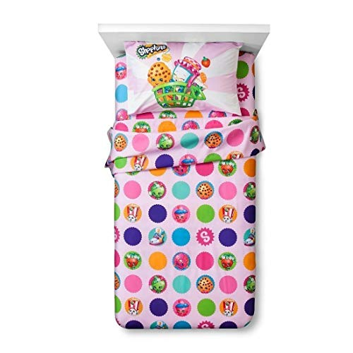 """Shopkins Dots """"Once You Shop, You Can't Stop"""" 3 Piece Pink Twin Sheet Set"""