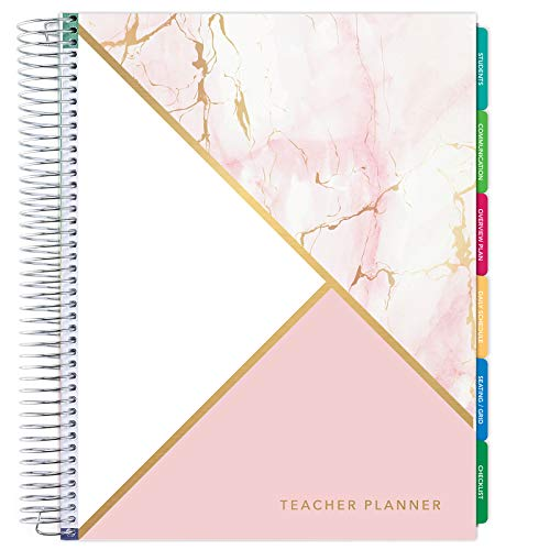 Deluxe Undated Teacher Planner: 8.5'x11' Includes 7 Periods, Page Tabs, Bookmark, Planning Stickers, Pocket Folder Daily Weekly Monthly Planner Yearly Agenda (Pink Marble Triangles)