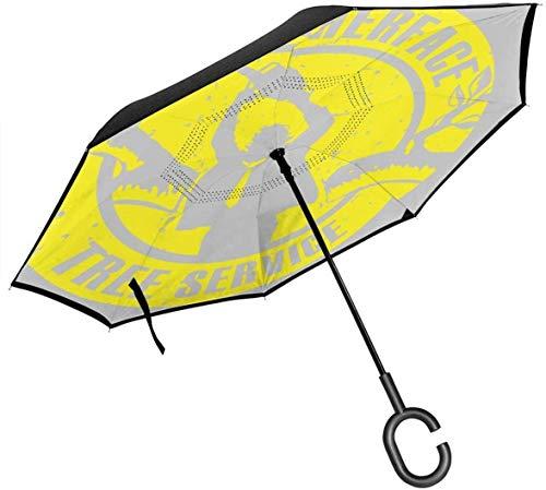 Leatherface Tree Service Texas Kettensägen-Massaker Doppelschicht-Inverted-Regenschirm für umgeklappte Hände in C-Form - Leicht Winddicht