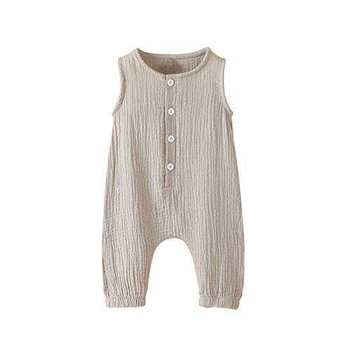 Newborn Baby Girl Romper Jumpsuit Cotton Linen Sleeveless Ruffled Bodysuit Infant Summer Clothes Outfits (Grey, 0-3 Months)