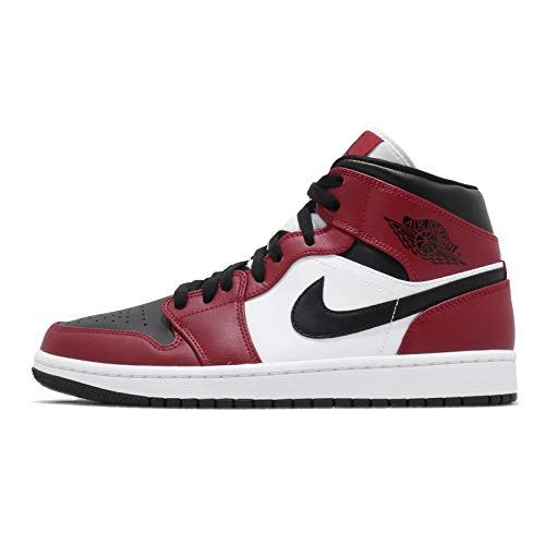 """Nike Mens Air Jordan 1 Mid """"Chicago Black Toe"""" Basketball Sneakers (8.5)"""