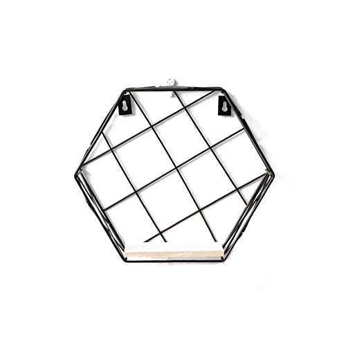 Wall Mounted Shelf, Black Iron Art Display Rack en Organizer, Creative Hexagonal Muur Plat (20X11.5X10cm) 410 (Size : 14.5cm)