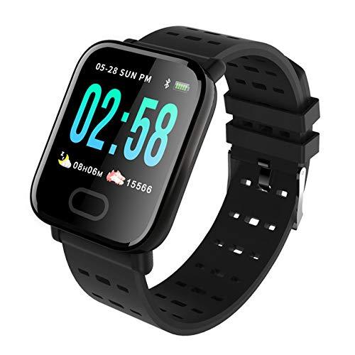 Sxgyubt Smartwatch, A6, Herzfrequenzmesser, Blutdruck, wasserdicht, Smartwatch, Uhr One Schwarz