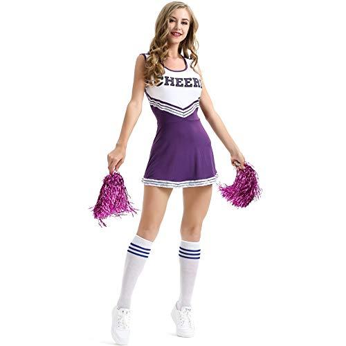 Traje Disfraz de Animadora Uniforme High School Musical Disfraz con Pompones Minifalda Uniforme de música Disfraz de Fiesta, XS-XXL
