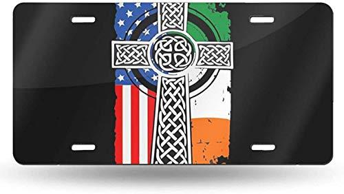 WSEDRF Irish American USA Flag Celtic Cross License Plate Cover Aluminum Front Car Tag Metal License Plate with Four Holes 6x12 in