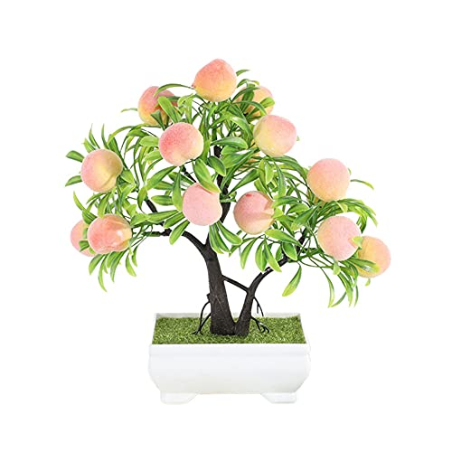 MJcoffee 1Pc Lightweight Artificial Potted Fake Fruit Tree Plant Bonsai Plastic+Foam Material Beautiful for Home Office Decor, Peach