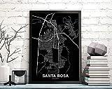 MG global Santa ROSA Ecuador Map Poster Black White
