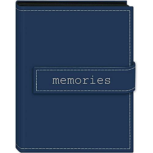 4x6 Magnetic Strap Album Embroidered Memories Blue Holds 36 Photos photo albums book Photo album Photo album magnetic pages Photo album all size pictures