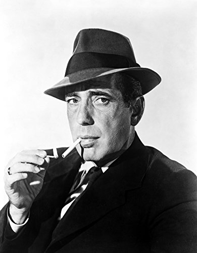 Humphrey Bogart Smoking in Black Suit and Hat Photo Print (8 x 10)