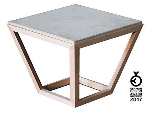 Couchtisch [cretable] aus Holz und Beton | Beistell-Tisch mit porenfreier Betonplatte 54 x 54 cm und Gestell in minimalistischer Form