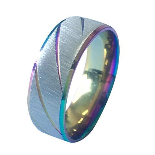 Nuevo anillo de pareja de patrón de doble bisel de arco interior simple europeo y americano para hombres y mujeres multicolor mezclado, 8 Uniquelove