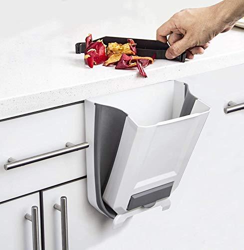 Cubo de basura para colgar – Cubo de basura plegable para cocina, caravana, autocaravana, coche, etc., capacidad de 9 l, súper práctico (blanco y gris)