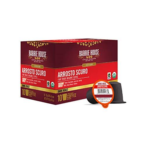 Barrie House Arrosto Scuro Single Serve Coffee Pods, 10 Pack | Fair Trade Organic Small Batch Artisan Coffee in Convenient Single Cup Capsules | Compatible With Keurig K Cup Brewers |