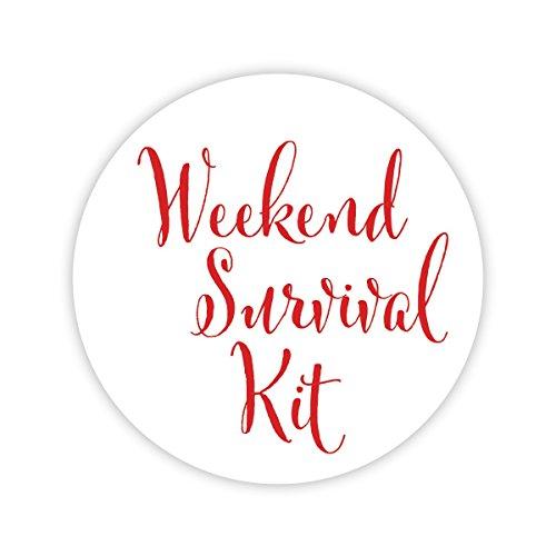Weekend Survival Kit Bachelorette or Destination Wedding Stickers, Choose Your Colors (#540-R)