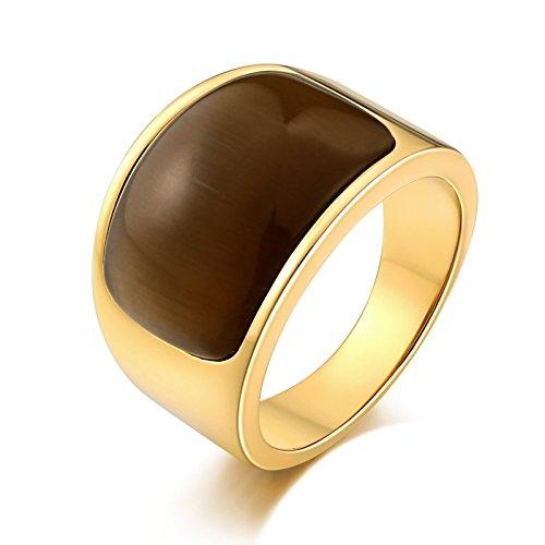 Beglie Edelstahl Herren Ringe Siegelring Herren Odin Signet Ring Band Ring Daumenring für Mann Kaffee Herrenring Antik Größe 67 (21.3)