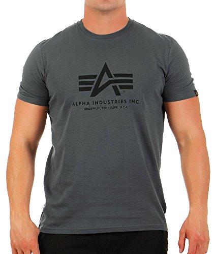 ALPHA INDUSTRIES Herren Basic T-Shirt, greyblack/Black, XXL