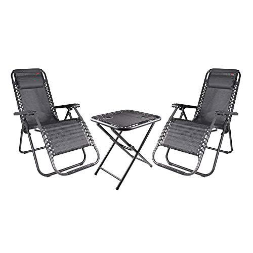 INDA-Exclusiv 3-teiliges Comfort Set Gartenstuhl Relaxsessel Relaxstuhl Liegestuhl verstellbar inkl. Kopfpolster und Getränkehalter schwarz/grau