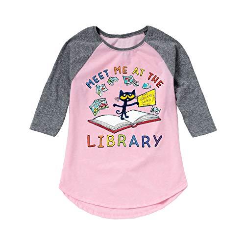 Pete The Cat Meet Me at The Library - Toddler Girl Shirt Tail Raglan