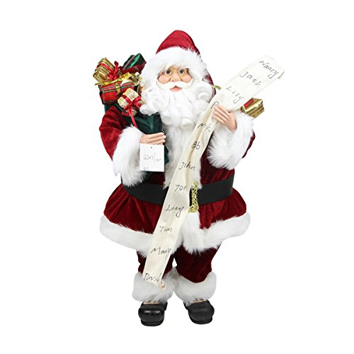 Northlight Standing Santa Claus with Naughty or Nice List and Bag of Presents Christmas Figure, 3'