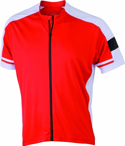 James & Nicholson Herren Sport Top Radtrikots Bike-T Full Zip rot (red) XXX-Large